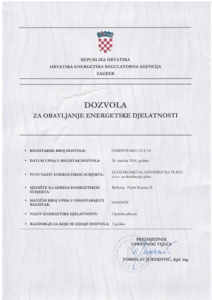 Dozvola za obavljanje djelatnosti Opskrba
